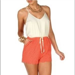 Lace Crochet Scalloped Hem Cross Open Back Coral